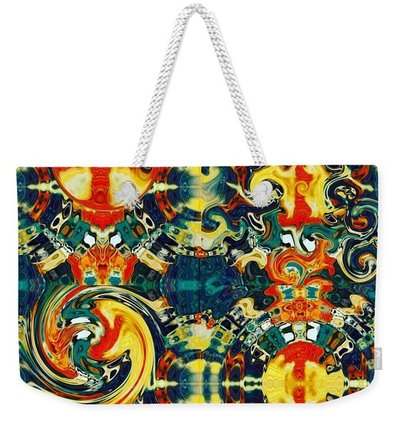Weekender Tote Bag featuring the digital art Les Quatre Elements by A zakaria Mami