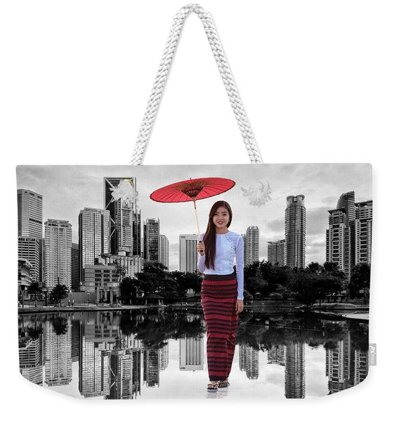 Weekender Tote Bag featuring the digital art Let The City Be Your Stage by ISAW Company