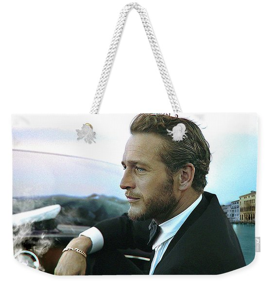 Life Is A Journey, Paul Newman, Movie Star, Cruising Venice, Enjoying A Cuban Cigar Weekender Tote Bag