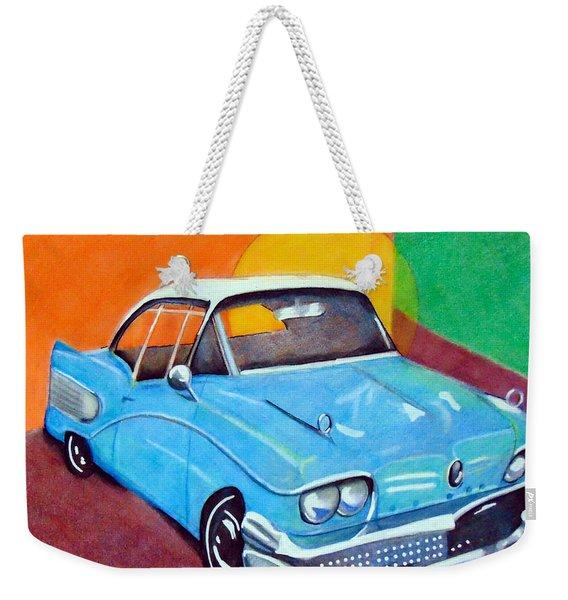 Light Blue 1950s Car  Weekender Tote Bag
