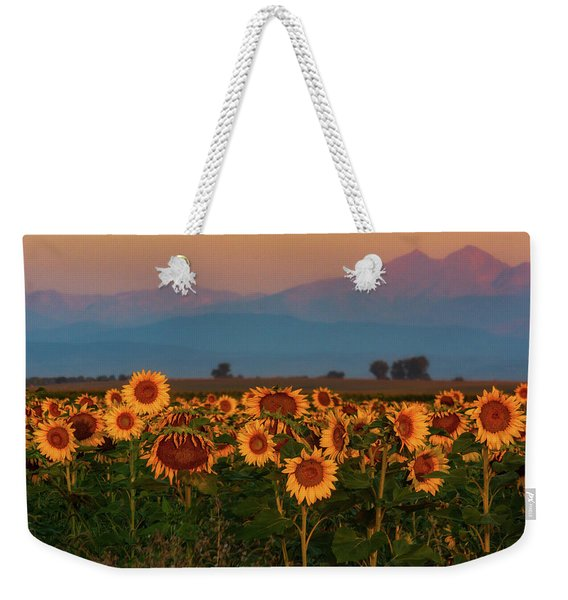 Weekender Tote Bag featuring the photograph Light Of The Sunflowers by John De Bord