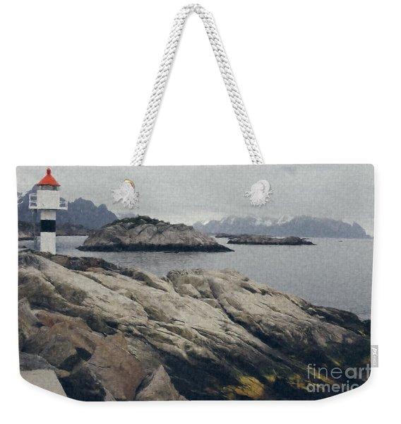 Lighthouse On Rocks Near The Atlantic Coast, Digital Art Oil Pai Weekender Tote Bag