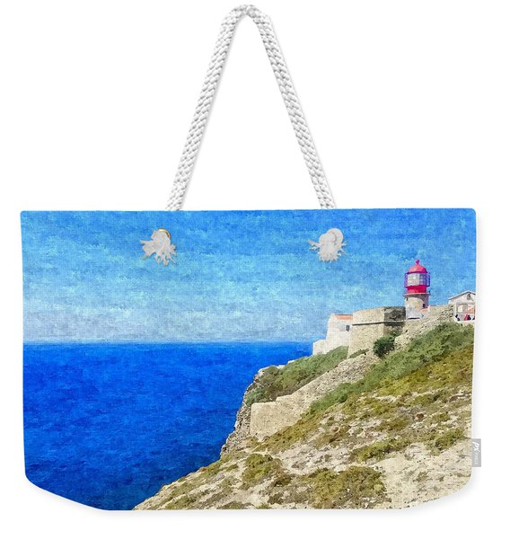 Lighthouse On Top Of A Cliff Overlooking The Blue Ocean On A Sunny Day, Painted In Oil On Canvas. Weekender Tote Bag