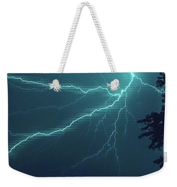 Lightning Grid Weekender Tote Bag