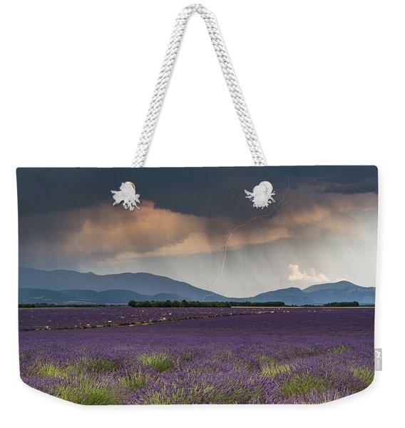Lightning Over Lavender Field Weekender Tote Bag