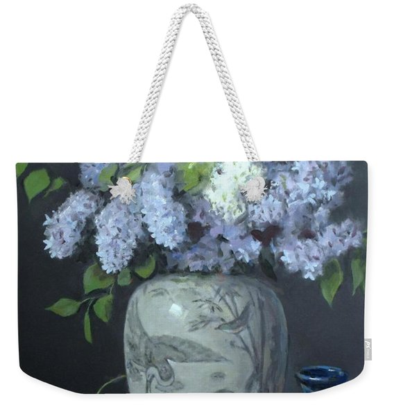 Lilacs In Chinese Ginger Jar With Lid, Pottery And Apples Weekender Tote Bag