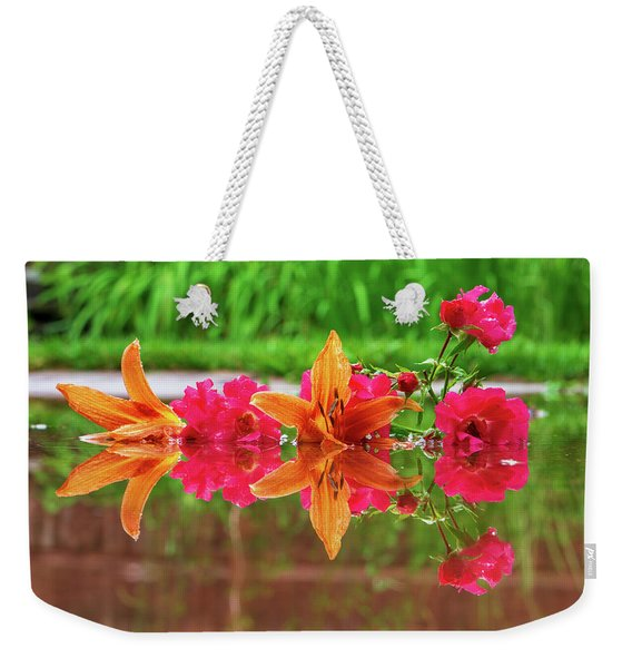 Lilies And Roses Reflection Weekender Tote Bag