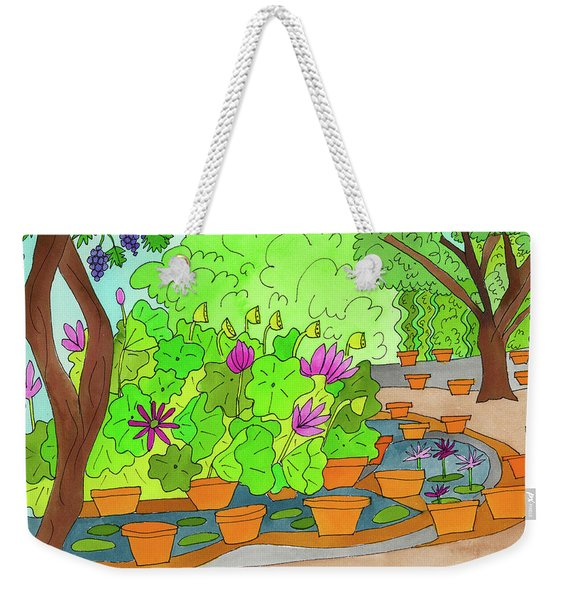 Weekender Tote Bag featuring the painting Lilies by Suzy Mandel-Canter