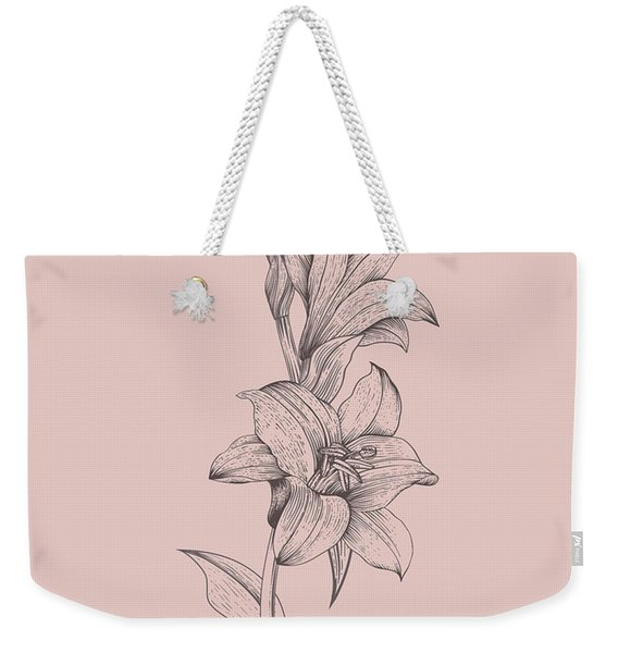 Lily Blush Pink  Flower Weekender Tote Bag