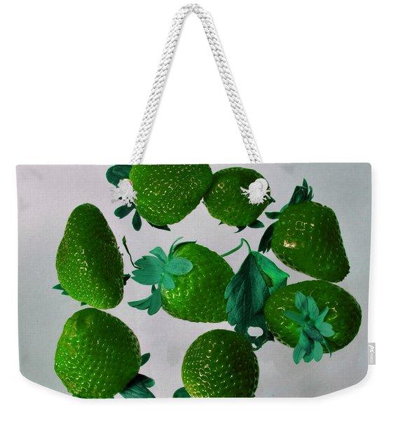 Lime Strawberries Weekender Tote Bag