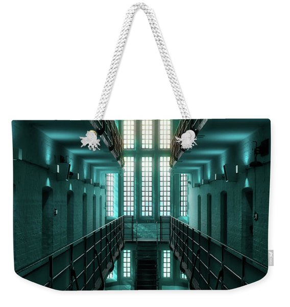 Weekender Tote Bag featuring the digital art Lincoln Castle Prison In Blue by Scott Lyons