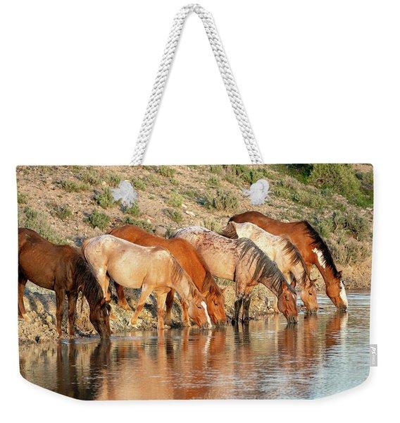Lineup At The Pond-- Wild Horses Weekender Tote Bag