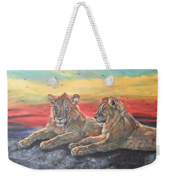 Lion Sunset Weekender Tote Bag