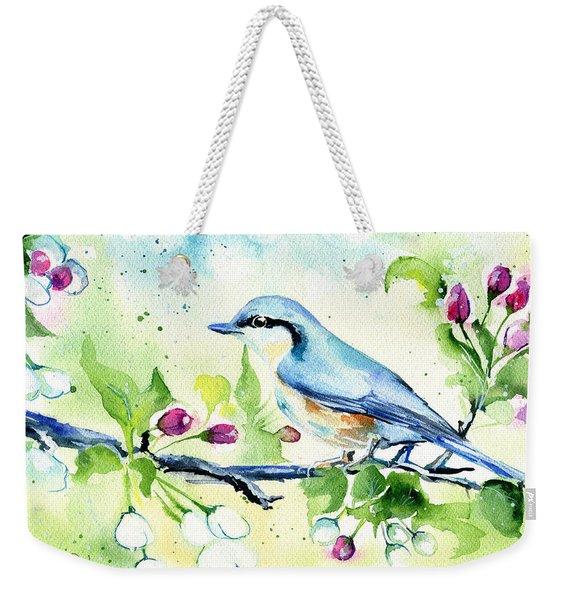 Little Blue Spring Bird Weekender Tote Bag
