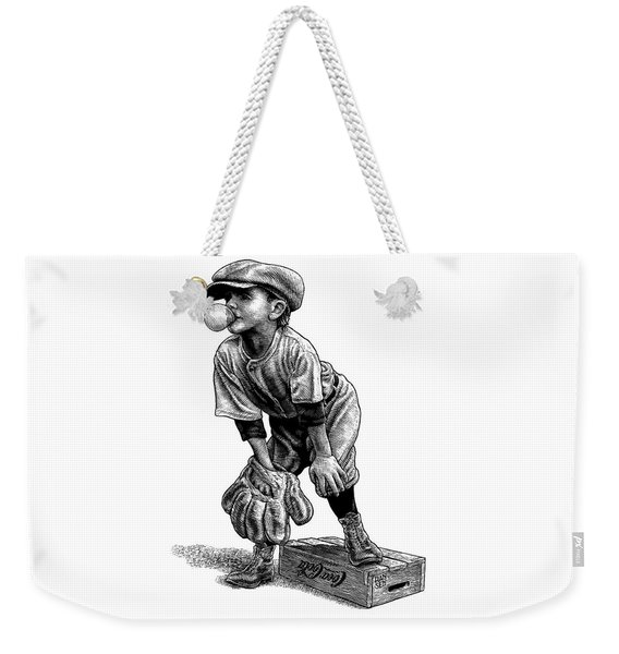 Weekender Tote Bag featuring the drawing Little Leaguer by Clint Hansen