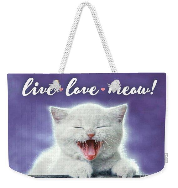 Live Love Meow Purple Weekender Tote Bag