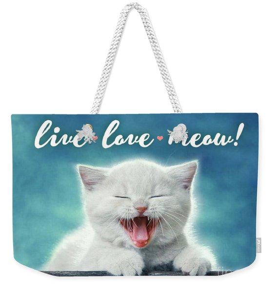 Live Love Meow Blue Weekender Tote Bag