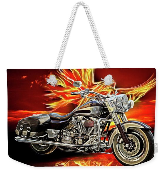 Live To Ride, Ride To Live In Shiny Chrome Weekender Tote Bag