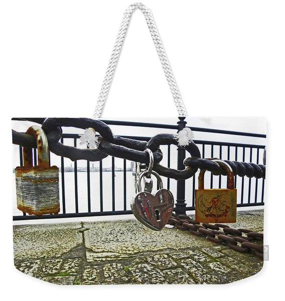 Liverpool. The Albert Dock. Eternal Love. Weekender Tote Bag