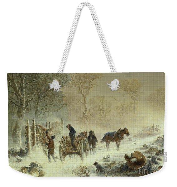 Loading Wood In The Snow, 1858  Weekender Tote Bag