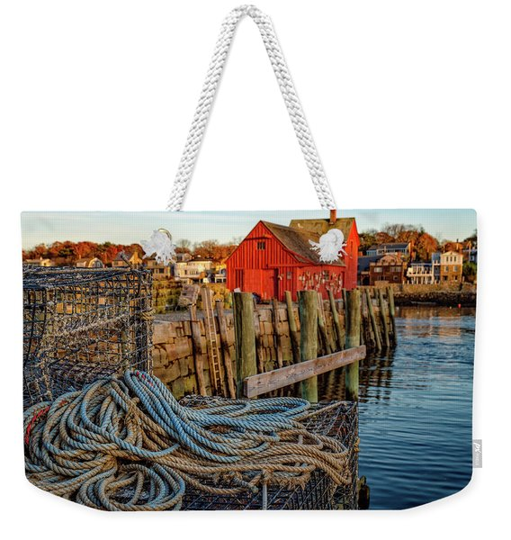 Weekender Tote Bag featuring the photograph Lobster Traps And Line At Motif #1 by Jeff Sinon