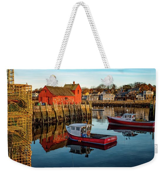Weekender Tote Bag featuring the photograph Lobster Traps, Lobster Boats, And Motif #1 by Jeff Sinon