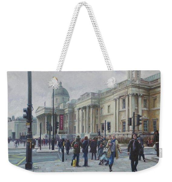 London National Gallery In The Winter Weekender Tote Bag