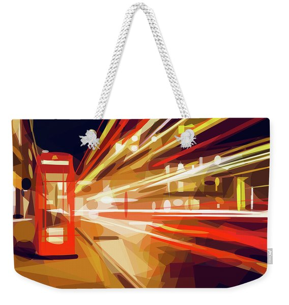 Weekender Tote Bag featuring the digital art London Phone Box by ISAW Company