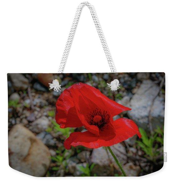 Lone Red Flower Weekender Tote Bag