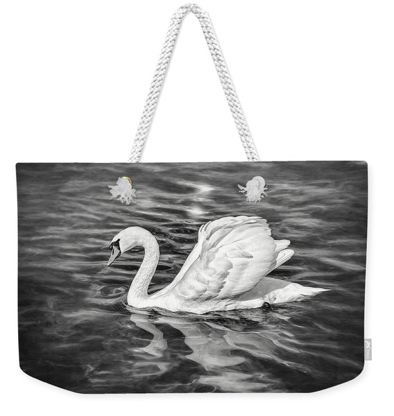 Lone Swan Lake Geneva Switzerland In Black And White Weekender Tote Bag