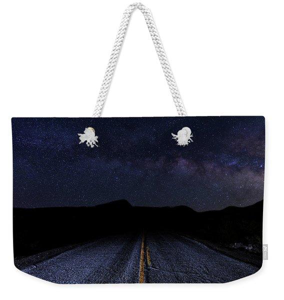 lonely Desert Road on a Starry Desert Night  Weekender Tote Bag