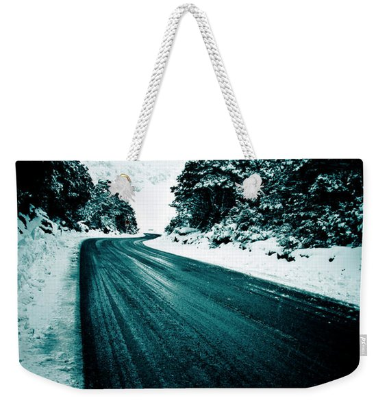 Lonely Road In The Countryside For A Car Trip And Disconnect From Stress Weekender Tote Bag