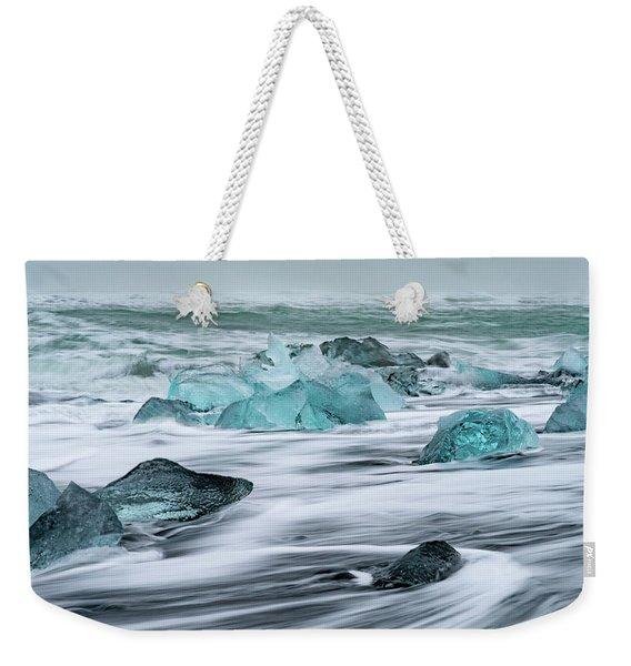Long Exposure At The Jokulsarlon Ice Beach Weekender Tote Bag