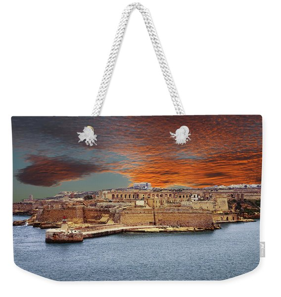 Looking Across Harbor From Fort St Elmo To  Fort Rikasoli Weekender Tote Bag