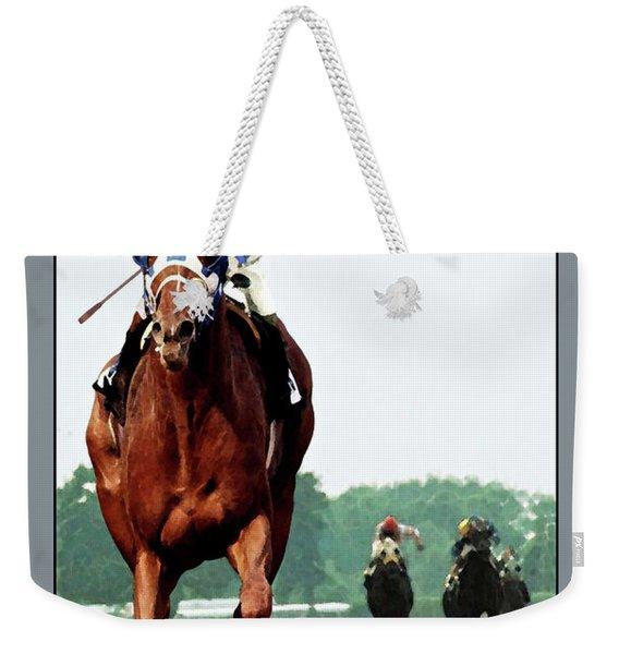 Looking Back, 1 1/2 Mile Belmont Stakes Secretariat 06/09/73 Time 2 24 - Painting Weekender Tote Bag