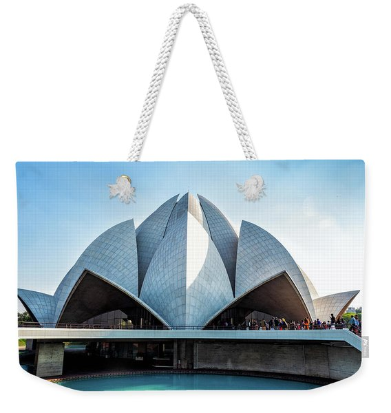 Weekender Tote Bag featuring the photograph Lotus Temple by Robin Zygelman