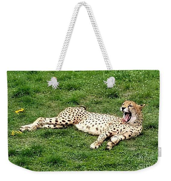 Lounging Cheetah Weekender Tote Bag