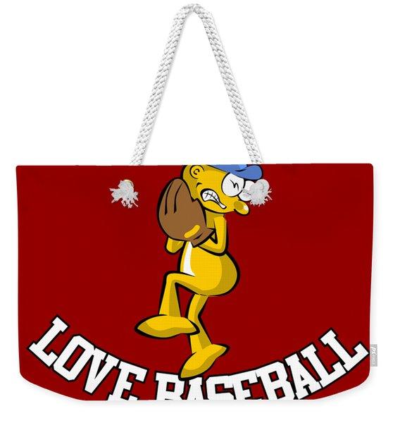 Love Baseball Cartoon Illustration For Fans Weekender Tote Bag