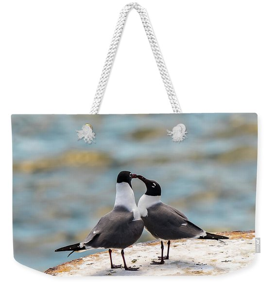Weekender Tote Bag featuring the photograph Love Birds by Dheeraj Mutha