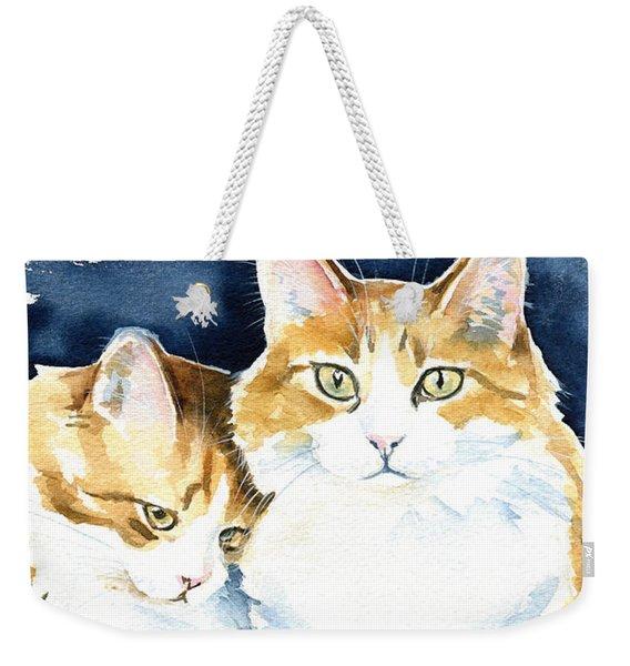 Love Me Meow Cat Painting Weekender Tote Bag