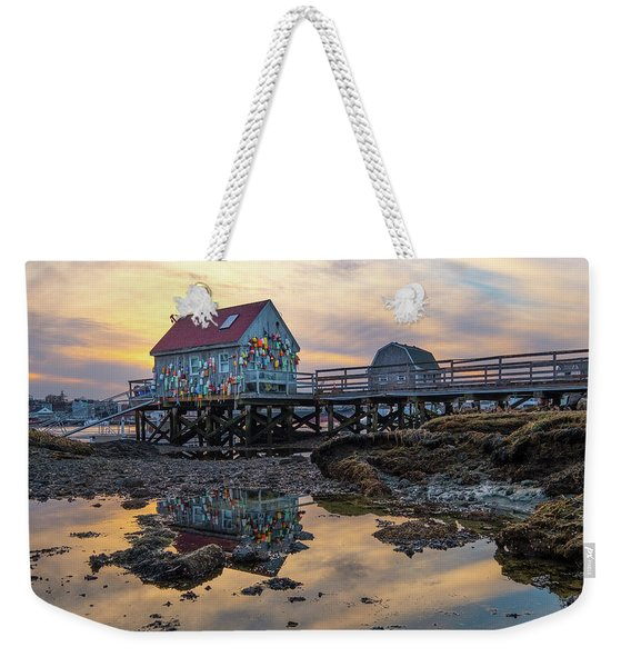 Weekender Tote Bag featuring the photograph Low Tide Reflections, Badgers Island.  by Jeff Sinon