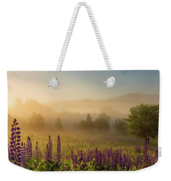 Weekender Tote Bag featuring the photograph Lupine In The Fog, Sugar Hill, Nh by Jeff Sinon