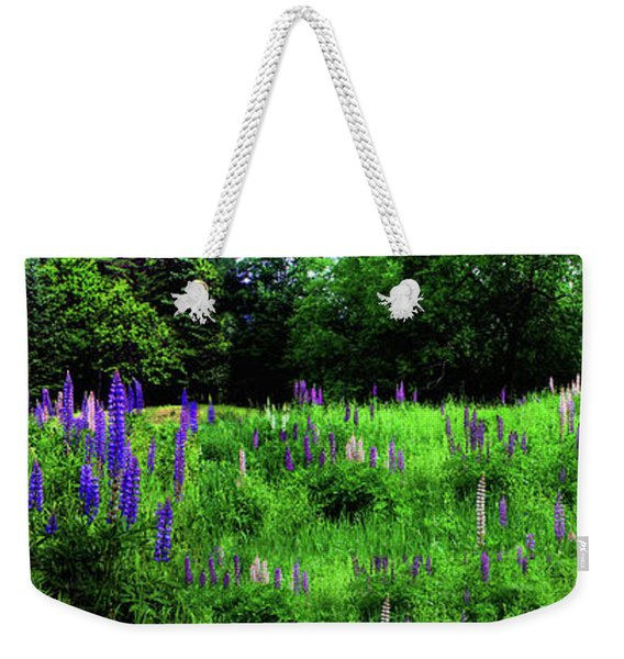 Weekender Tote Bag featuring the photograph Lupine Panorama by Wayne King