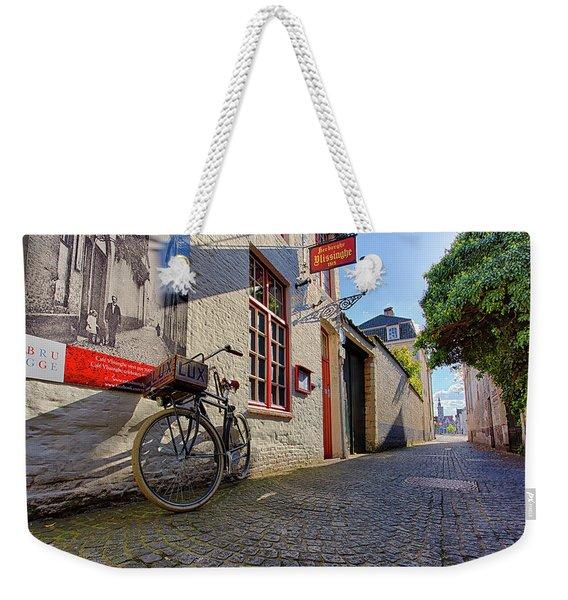 Lux Cobblestone Road Brugge Belgium Weekender Tote Bag
