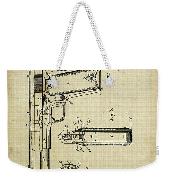 M1911 Browning Pistol Patent Weekender Tote Bag