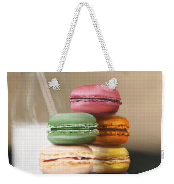 Weekender Tote Bag featuring the pastel Macaroons  by Fe Jones