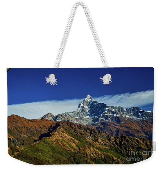 Machapuchare Mountain Fishtail In Himalayas Range Nepal Weekender Tote Bag