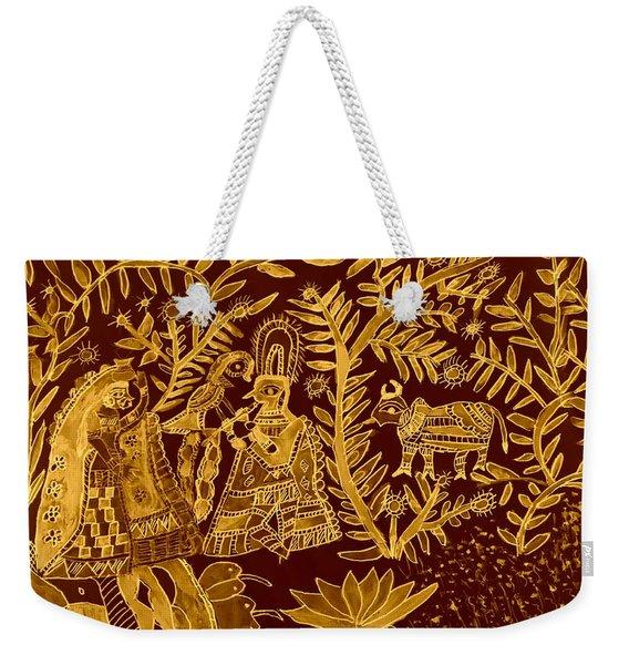 Madhubani Art In Golden Weekender Tote Bag