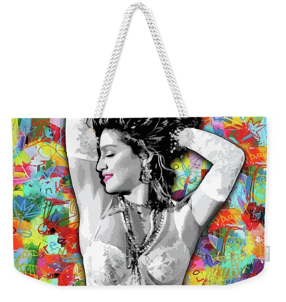 Weekender Tote Bag featuring the painting Madonna Boy Toy by Carla B