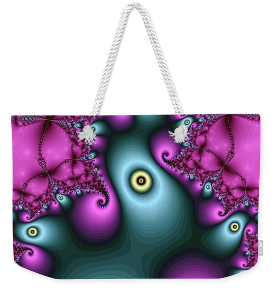 Weekender Tote Bag featuring the digital art Magical Abstract Pink Art Print by Don Northup